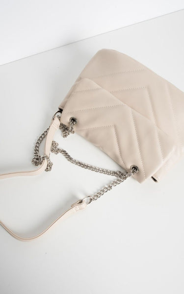 This is an image of our Khloe Chevron Stitched Quilted Cross Body Bag in Cream