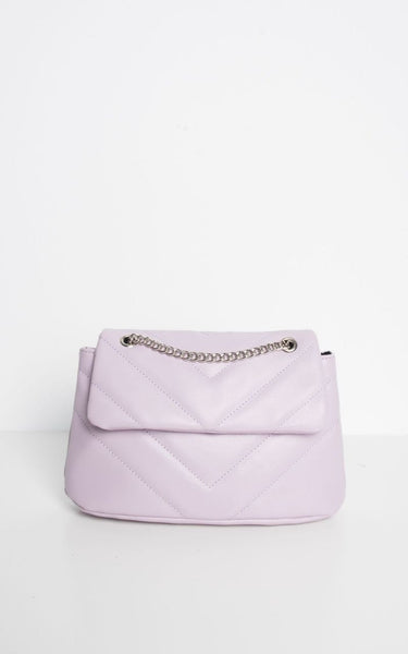 This is an Image of the new Khloe Chevron Stitched Quilted Cross Body Bag in Lilac