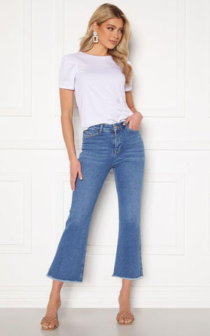 this is an image of the Kyla Kick Flare Stretch Jeans Medium Blue