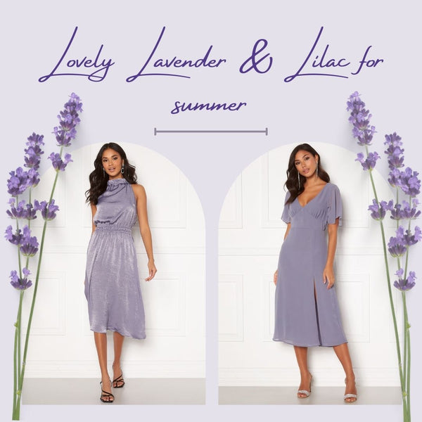 This is an Image of two of our Summer Lavender & Lilac Dresses, the Ally Flounce Midi Dress & the Emalie Halter Neck midi Dress