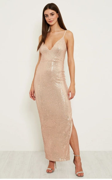 This is an image of the Liza Sparkly Sequin Maxi Dress with Slit in Rose Gold