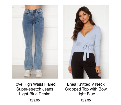 This is an image of two of our Best Sellers from the new Spring/Summer Collection. The Tove High Waist Flared Jeans are Skinny from the waist down to the knee and kick out at the bottom. This Style gives the illusion of a Longer Leg. They are Light Blue Denim making them ideal for Styling with Pastel Colours. The Enea Cropped V Neck Top has a belt attached and is beautifully bowed at the front. It is a Baby Blue Pastel Colour.
