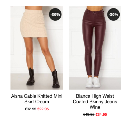 This is a Picture of two of our Best Sellers from the end of season Sale. The Aisha Knitted Mini Skirt is Cream and has a Cable Knit throughout. It has an elasticated waistband and is super Comfy to wear. We also Sell the Matching Jumper but this Skirt can be Styled with any neutral coloured Knitwear you have at home. The Bianca High Waist Skinny Jeans are Super Stretchy and are a beautiful Wine colour which is an excellent replacement for Black.