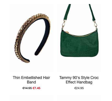 this is an image of two of our best selling fashion accessories, the thin embellished hairband and the tammy 90s style handbag in green