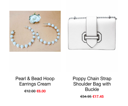 this is an image of two of our best selling accessories, the pearl hoop earrings and the poppy chain strap bag in silver