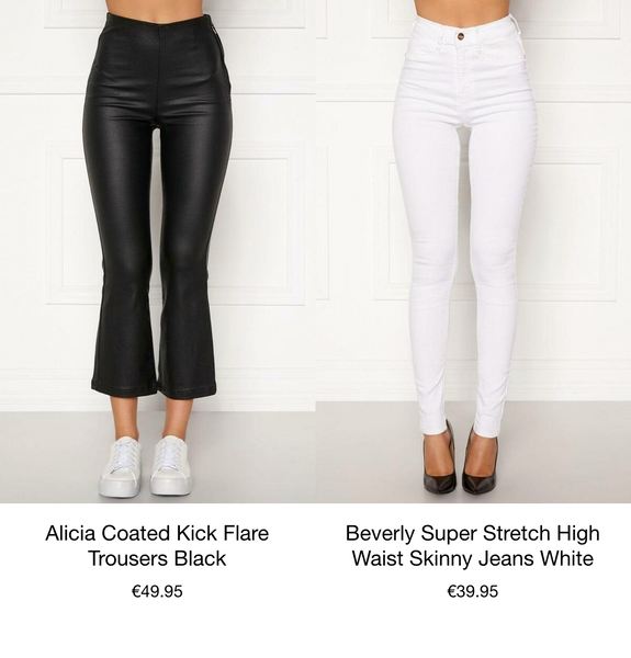 This is an image of the Alicia Kick Flair Coated Cropped Trousers in Black and the Beverly Super Stretchy White Skinny Jeans that are high waisted,