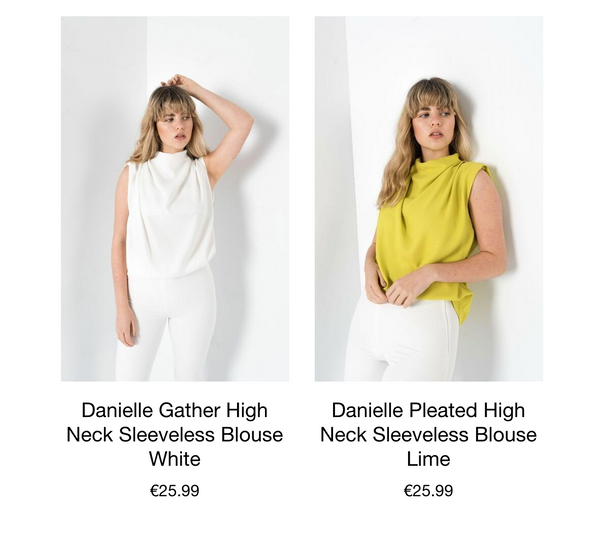 This is an image of the Danielle Pleated High Neck Sleeveless Blouse. With a gather detail on the neck and a slight capped sleeve.   This Blouse has an invisible Zip closure down the back of the neckline.  Ideal for tucking into Jeans, Suit Pants or Skirts.  Available in Lime & White