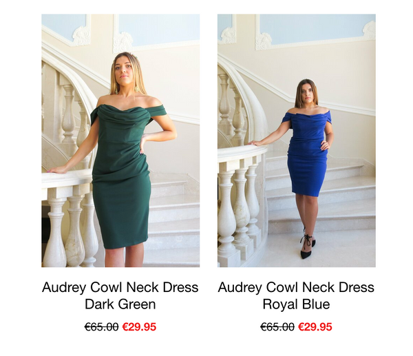 This is an Image of the Audrey Dress in Green & Blue. The Audrey dress has an off the shoulder style with a draped cowl neckline. It is midi length making it sophisticated, ideal for parties and weddings  It has boning on the bodice which makes it supportive and structured and a gather detail at the side is super flattering. It has an invisible zip at centre back.  A beautiful dress on all body types.