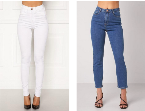 This is an image of the Beverly White Skinny Jeans and the Lana Cropped Jeans