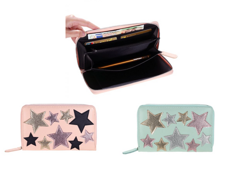 This is an image of the Astrix Travel Purse. The Astrix Purse has a Zip Closure and Beautiful Metallic Star Details Stitched on.  It is bigger than your average Purse making it ideal for fitting your Passport, Credit Cards, Cash and Phone.  It has Various Compartments making it easy for you to stay organised in Style.