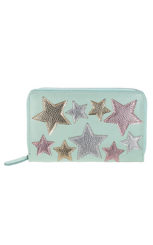 The Astrix Purse has a Zip Closure and Beautiful Metallic Star Details Stitched on.  It is bigger than your average Purse making it ideal for fitting your Passport, Credit Cards, Cash and Phone.  It has Various Compartments making it easy for you to stay organised in Style.  Available in Pink & Mint Green