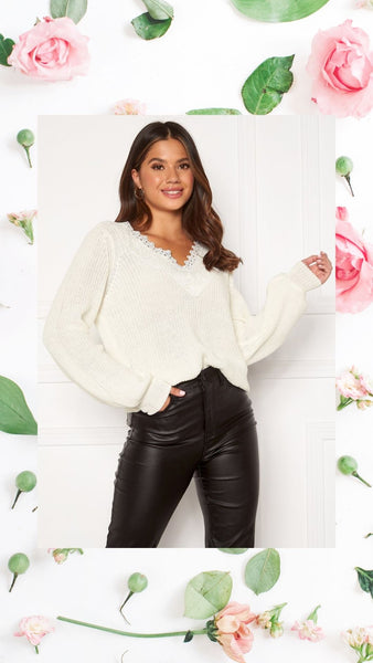 Add a touch of Elegant Lace Detail to your Look with our Wendy Knitted Jumper. This jumper has Chic Balloon Sleeves with Cuffs on the wrist. It has a V Neckline with a touch of Lace Embroidery making it easy to dress up over the Festive Season. It is a Cotton Blend making the Fabric Warm, Cosy and Soft to the touch. Stunning tucked into or worn over tight Leather Pants, Leggings or Jeans. Try it with our Sierra Leather Leggings.