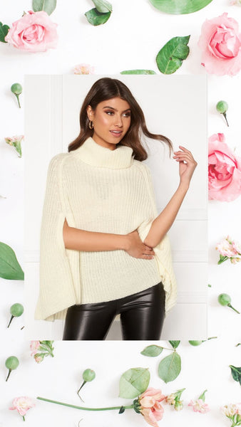 The Annabelle Poncho is everything you need in a Winter Knit. It has a stylish Silhouette and a Thick Polo Neck with slits in the sides for your arms. It is warm and cosy and ideal for wearing during the Autumn and Winter Months. It has a long length which falls below the hips making it ideal for styling with Leather Leggings or Tight Jeans.