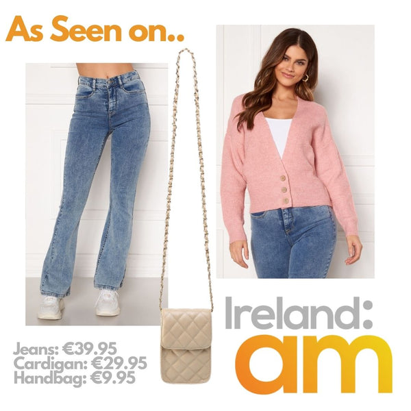 This is a photo collage of our tove denim flares in light blue, our louisa cardigan in pink and our ruby quilted handbag in nude as seen on Ireland AM
