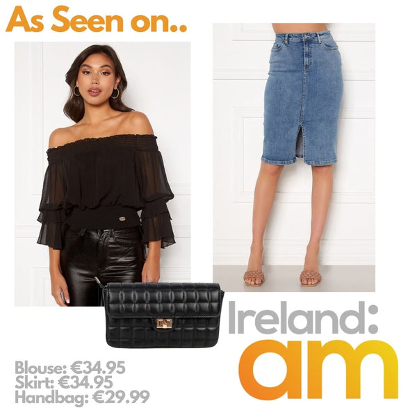 This is an Image collage of our madia off the shoulder blouse in black, our elina denim skirt and our faith handbag, as featured on ireland am