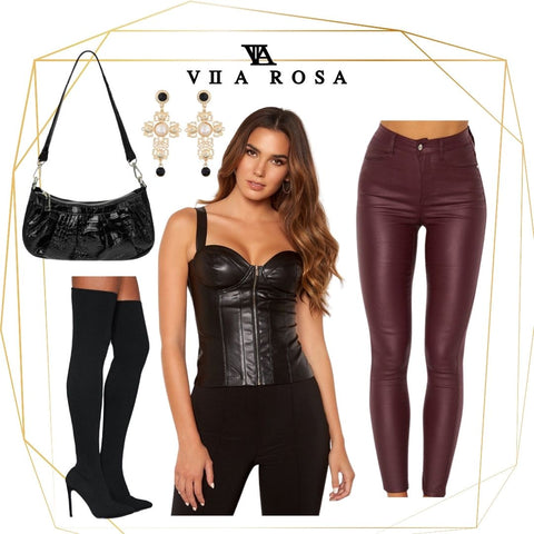 This is an Outfit Collage of our Gloria faux leather zip front Bustier, styled with our Bianca Burgundy coated jeans, our Cross Shaped Earrings and the Emily Black Gathered Patent handbag