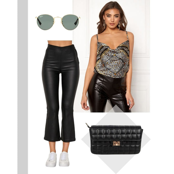 This is a picture of the ruby printed scarf style cami, the faith quilted black handbag and the Alicia Kick Flare Cropped Black Trousers