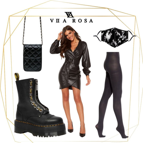 This is a Styling Collage of our Sylvia Faux Leather long sleeved belted mini dress with V neck, it is styled with our Marbled facemask, The ruby tiny black quilted shoulder bag, flat boots and opaque tights.