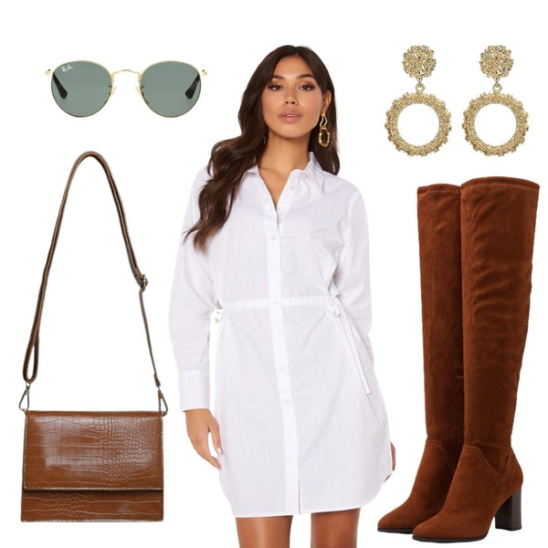 Over the Knee Boots and Shirt Dresses are a match made in Heaven. Exposing only a bit of leg can achieve such a sexy look while still remaining Classy and Fashion Forward. This Outfit has a real Casual, Effortless vibe. Our New Indie Handbag can be worn across the body or on your Shoulder and for some Sparkle our Dolce Vita Rounded Hoops. Finish the look with your favourite pair of Shades and your ready to go.