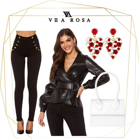 This is an Outfit Collage showing our Tamara Faux Leather Wrap Top with attached waist belt, Our Rochelle Black High Waisted Jeans with Gold button Details, our Red and pearl embellished heart shaped earrings and the stella tiny white single strap handbag