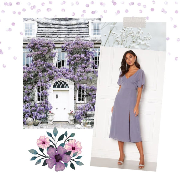 This is an image of our Ally Flounce Midi Dress in Lavender