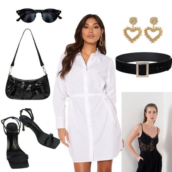 For something a little more Dressy you can layer our Rose Lace Bodysuit under the dress and leave the top two buttons open to reveal a little touch of Lace. Add our Oversized Diamond Buckle Waist Belt to really Enhance that Hourglass Shape and to break up the White. Finish the Look with a cute handbag like the Emily in Black and our Heart Shaped Gold Earrings. Black Sandals or Boots look fabulous with this outfit, and you've got yourself a Chic, head to toe Monochrome Look.