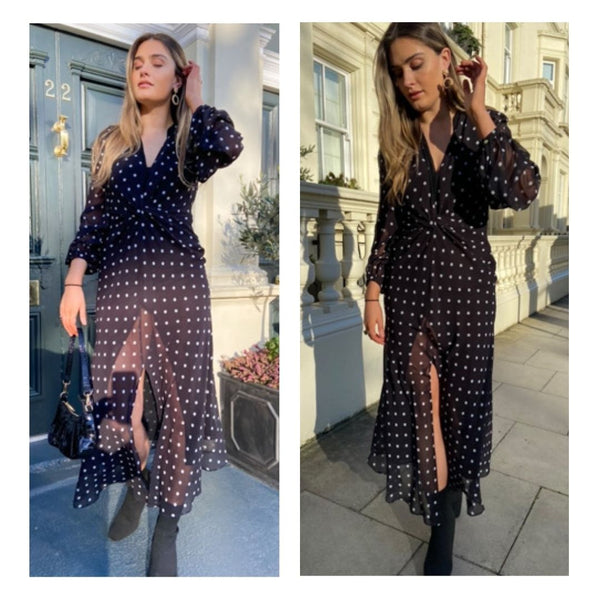 This is an image of irish influencer Aoife Carty wearing our Abby Polka dot Maxi dress, our Emily handbag and our gold hoop earrings.