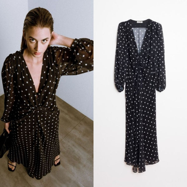 Our All Time Favourite Trend for Spring/Summer is here.  The Abby Polka Dot Maxi Dress has a Knot detail in the centre front with a deep V neckline.   It has long, flowy sleeves with a button closure on the cuff.  It has an invisible zip closure on the side.  The dress is lined from the Waist Down so a slip is not needed underneath. It has a split at the front.  This Maxi is so easy to take from a day to night look, Opt for a Sandal for something more casual and add a Heel for Evening wear.