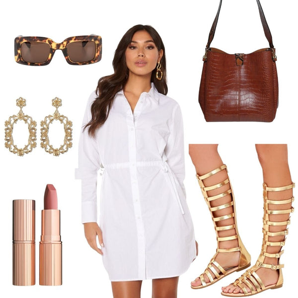 Sunny Summer days are Coming and we're starting to imagine ourselves strolling through the City Centre, Ice Cream in one hand, Shopping bag in the other, dressed in this outfit! The Lorina dress doesn't need to be styled with Heels, it's Mini Length is ideal for wearing with Flats too and we've opted for these out there Gladiator Sandals to elevate the Dress. Add our Day to Night Croc Bag in Brown, Some Tortoiseshell Sunnies and our Baroque Style Rose Gold Earrings to complete the look.