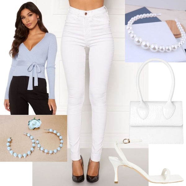 Outfit Idea's, How to Style our Beverly White High Waisted Skinny Jeans for Spring/Summer. Via Rosa Irish Online Boutique