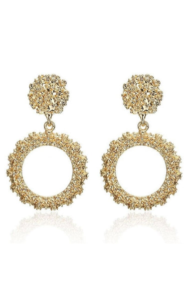 These pretty Gold earrings have a classic and timeless feel.  Size: 5.6cm long and 3.3cm wide  Material: Alloy  Weight: 17g  Treating Process: Plating