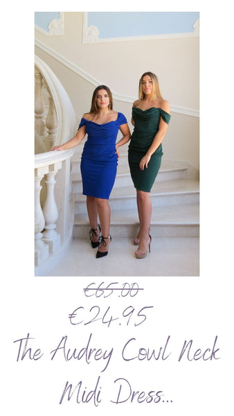 The Audrey dress has an off the shoulder style with a draped cowl neckline. It is midi length making it sophisticated, ideal for parties and weddings  It has boning on the bodice which makes it supportive and structured and a gather detail at the side is super flattering. It has an invisible zip at centre back.