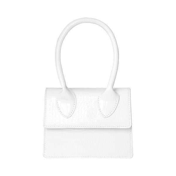 Tiny White Handbags are everywhere this season and that 90's shape takes us back to the 'Clueless' days!  This petite bag is ideal for a night out and will fit the basics such as keys, coin purse, phone and lippy.   It comes with a shoulder strap that can be attached.   It has a single hand strap towards the front. It is great for breaking up an all black outfit and is highly photogenic!