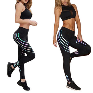 Noctilucent Reflective Leggings Glowing Fitness Workout Pants