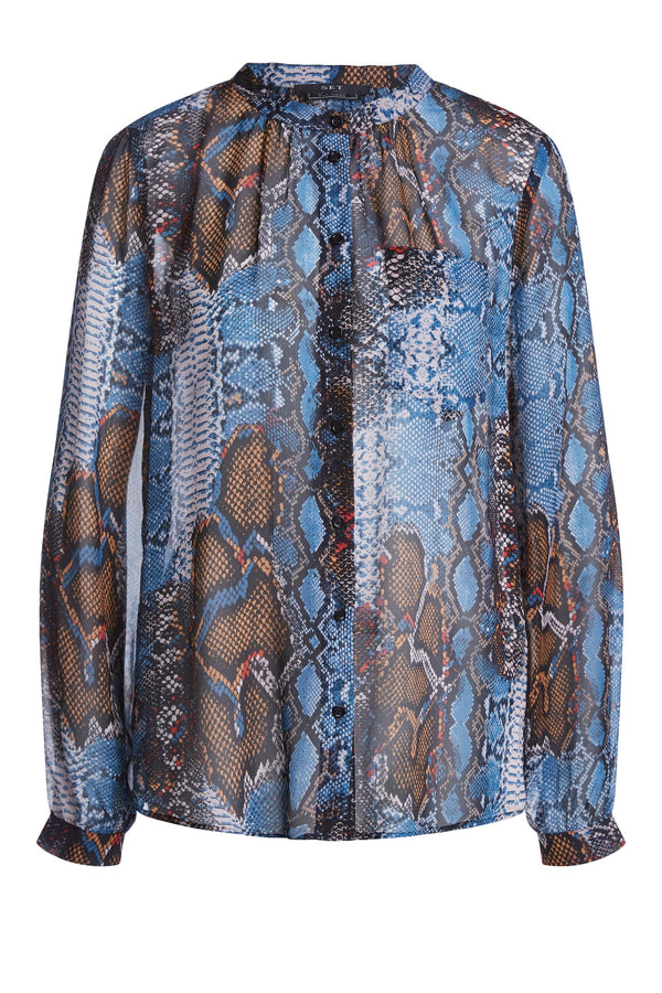 Printed Blouse Dark Blue Camel