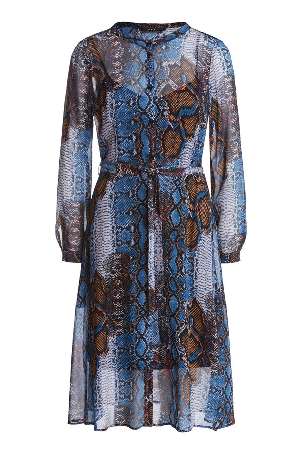 Printed Dress Dark Blue Camel