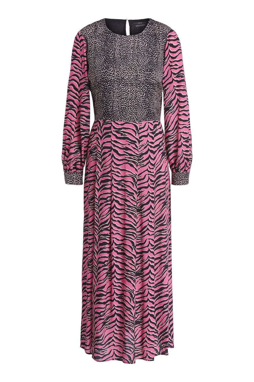 Tiger Print Long Dress Pink Grey