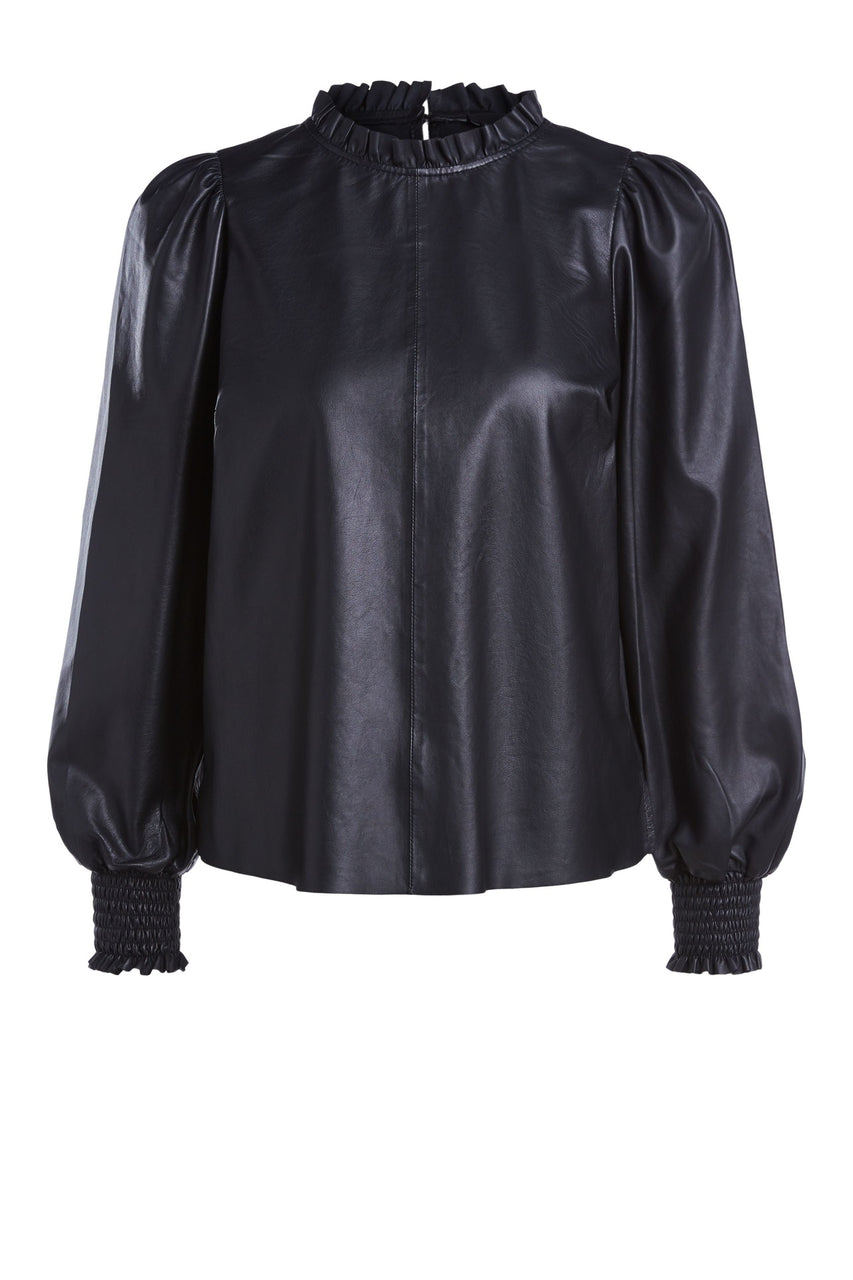 Sheep Leather Blouse Black