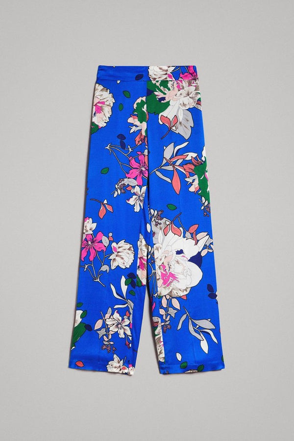Floral Satin Palazzo Trousers