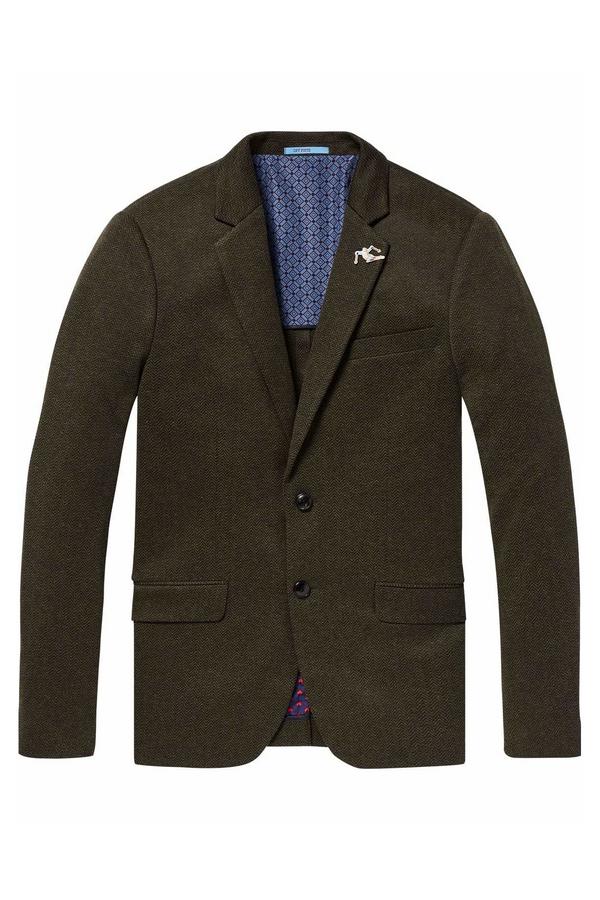 Half Lined Knitted Herringbone Blazer