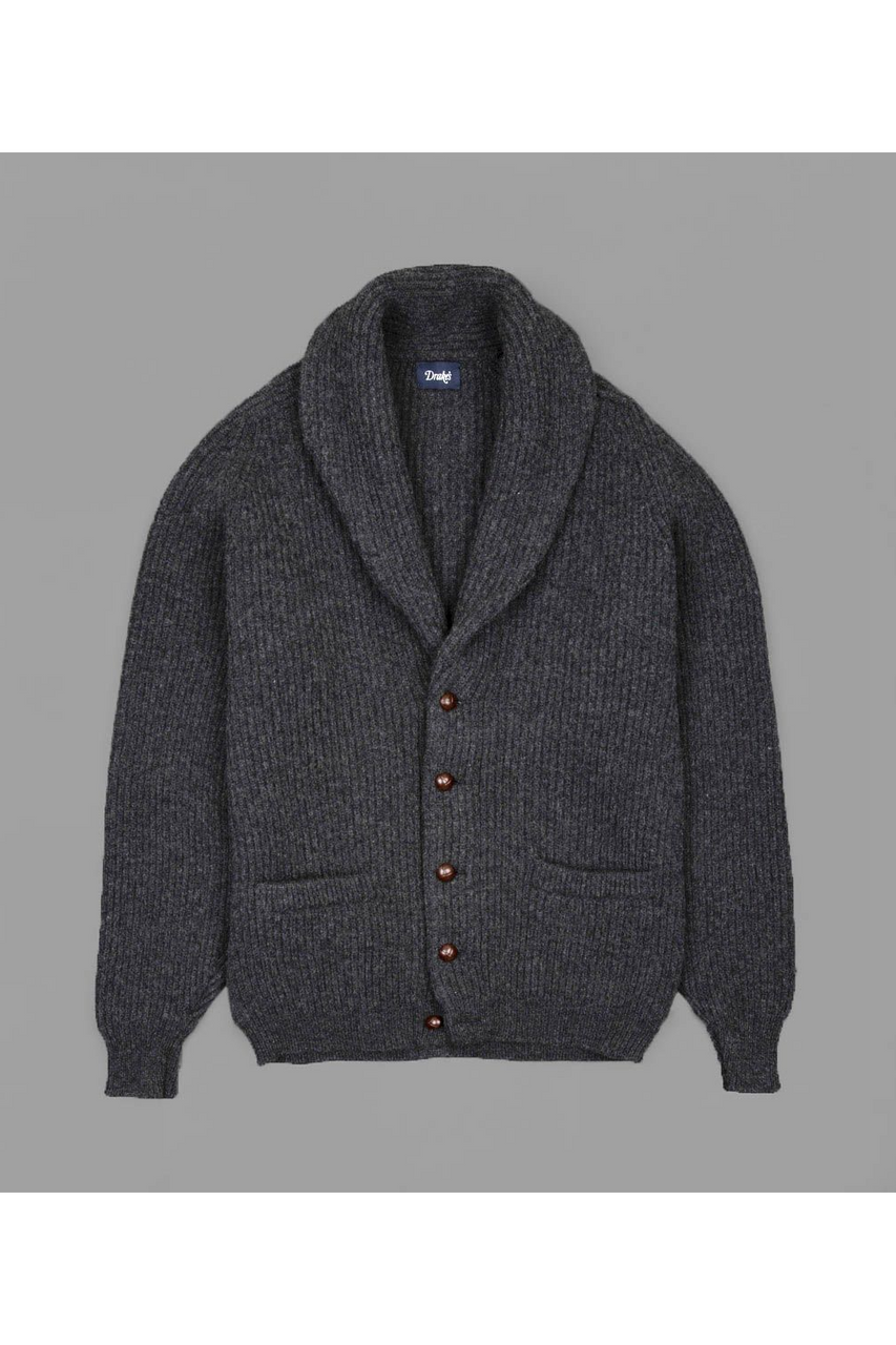 Shawl Neck Rib Cardigan Grey