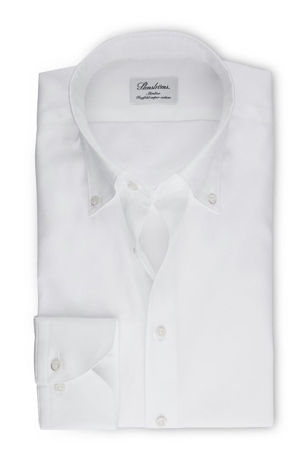 Pinpoint Button Down Slimline Shirt White