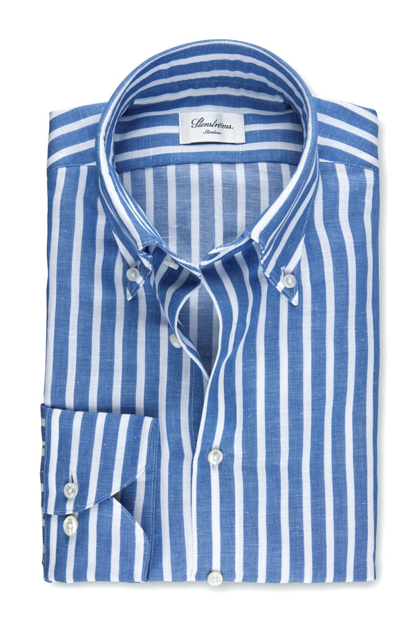 Button Down Linen Shirt Blue/White Stripe