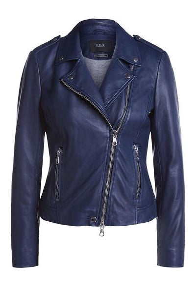 Tyler Leather Jacket Maritime Blue