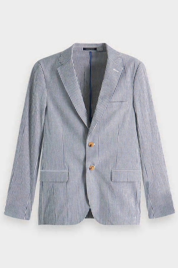 Seersucker Blazer Jacket Navy
