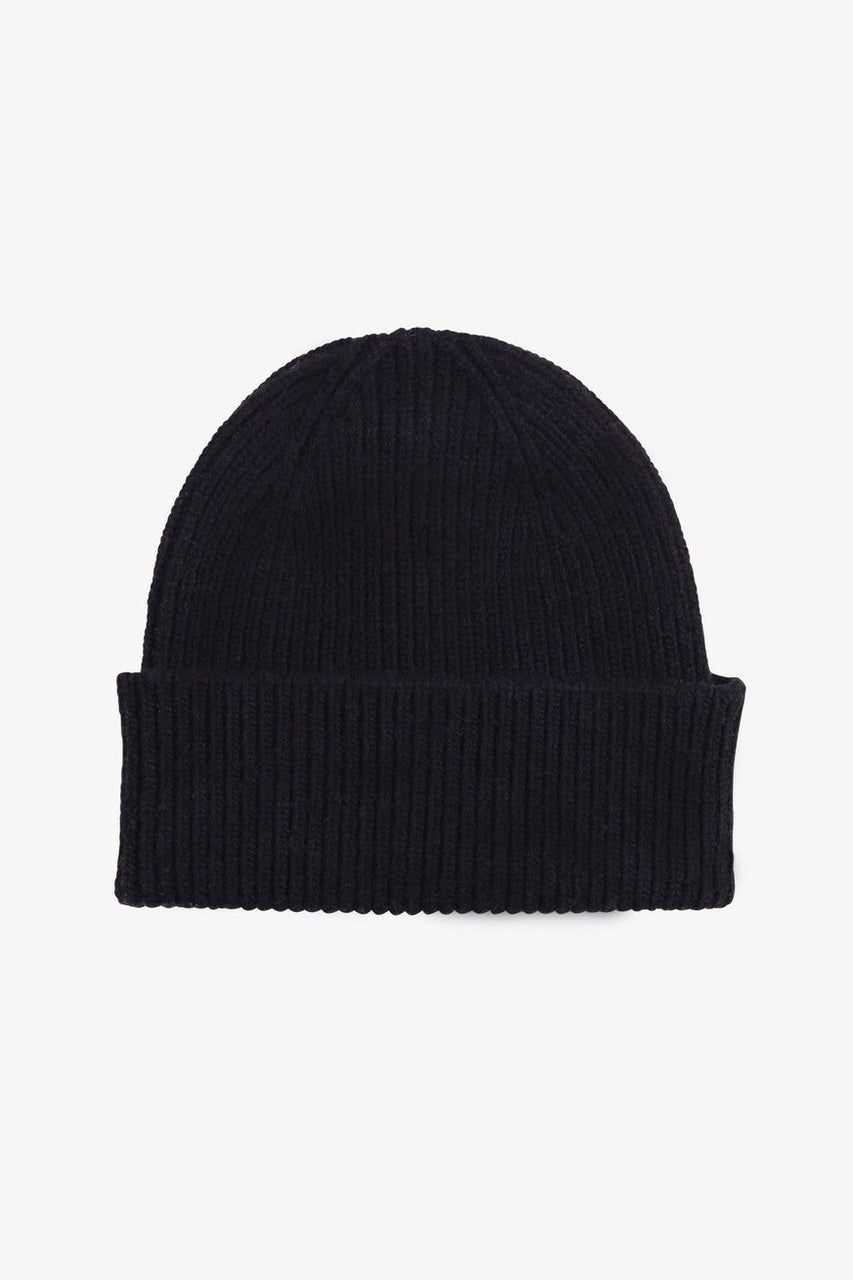 Merino Wool Beanie Deep Black