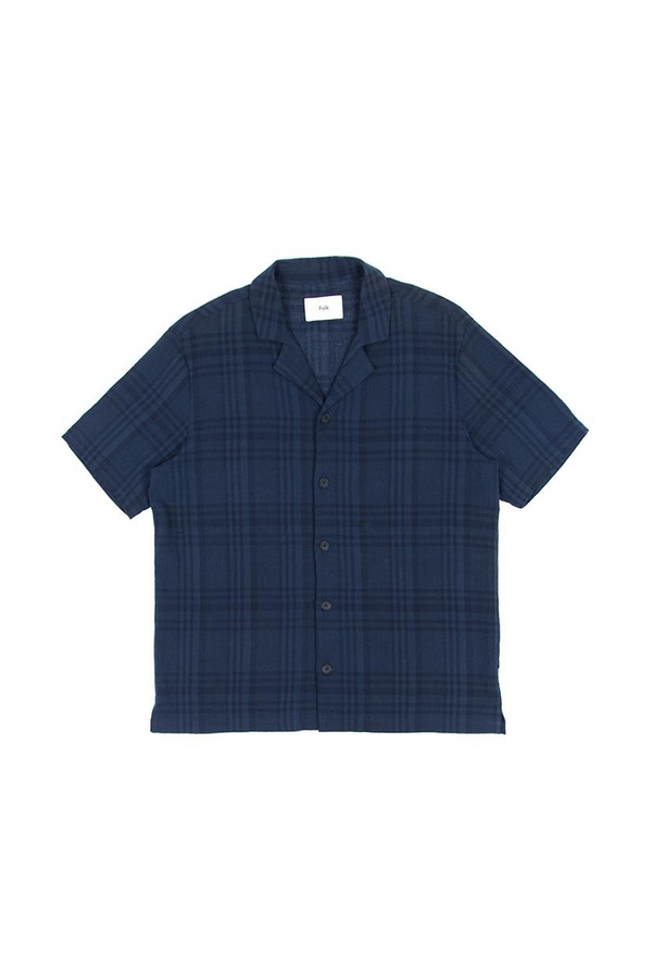 Soft Collar Shirt Navy Overdyed Crepe Check