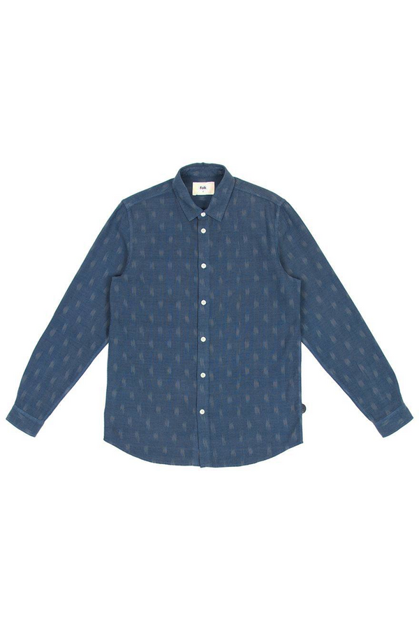 Orb Shirt Overdye Oxford Grid Ikat