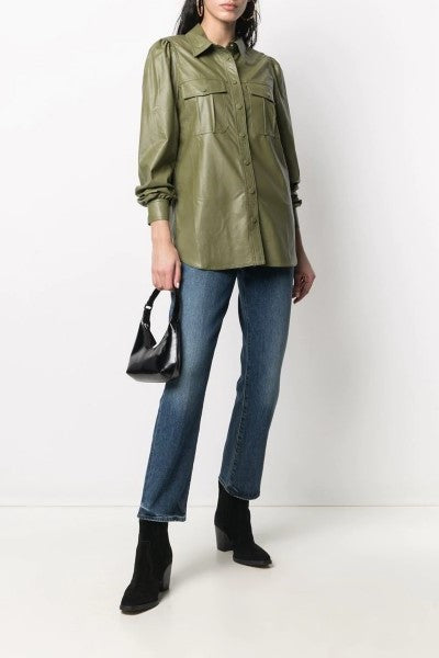 Faux Leather Shirt Verde Alpino