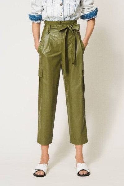 Faux Leather Trousers Verde Alpino